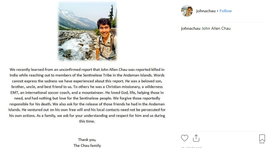Shocking message from John Allen Chau's family after he was killed by Andaman Tribe | tnbclive.in