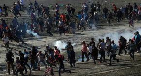 The Scene of Helpless Mother and Children on Throwing Tear Gas Represents the Escalating Crisis of Migrants