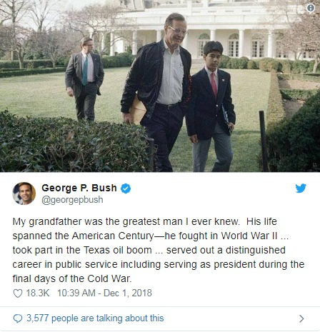 """Donald Trump pays tribute to George HW Bush for his """"unflappable leadership"""" 