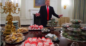 US President Arranges fast Food Feast, For Feeding Invited Football Team