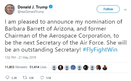 Donald Trump Appoints Former Aerospace Executive As US Air Force's Head / tnbclive.com