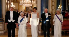 Melania Trump Glows In Off-White Full-Length Gown At Queen's State Banquet