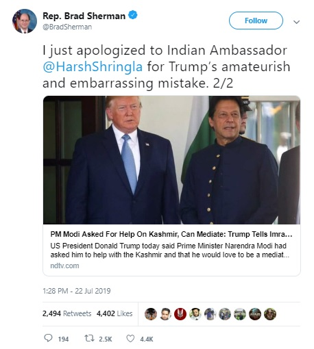 """Over President Trump's """"Embarrassing"""" Claim On Kashmir, US Lawmaker Apologised / tnbclive.com"""