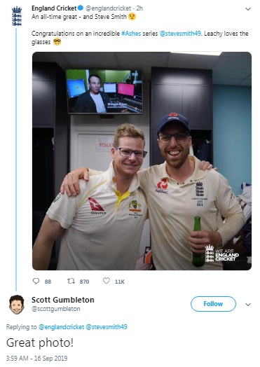"Jack Leach And Steve Smith Brought End To ""Spectacles"" Controversy / tnbclive.com"