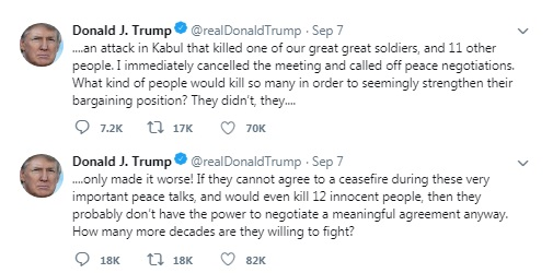 "Taliban Termed President Trump's Tweets Calling Off Peace Talks As ""Unbelievable"" / tnbclive.com"