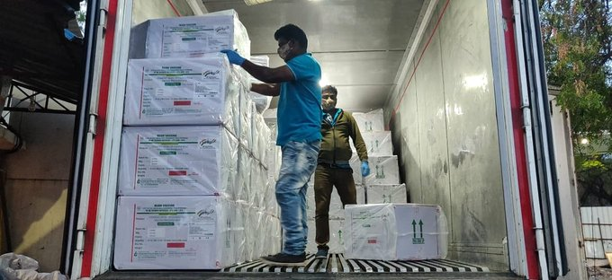 The first batch of Vaccine consignment arrived in Delhi from SII